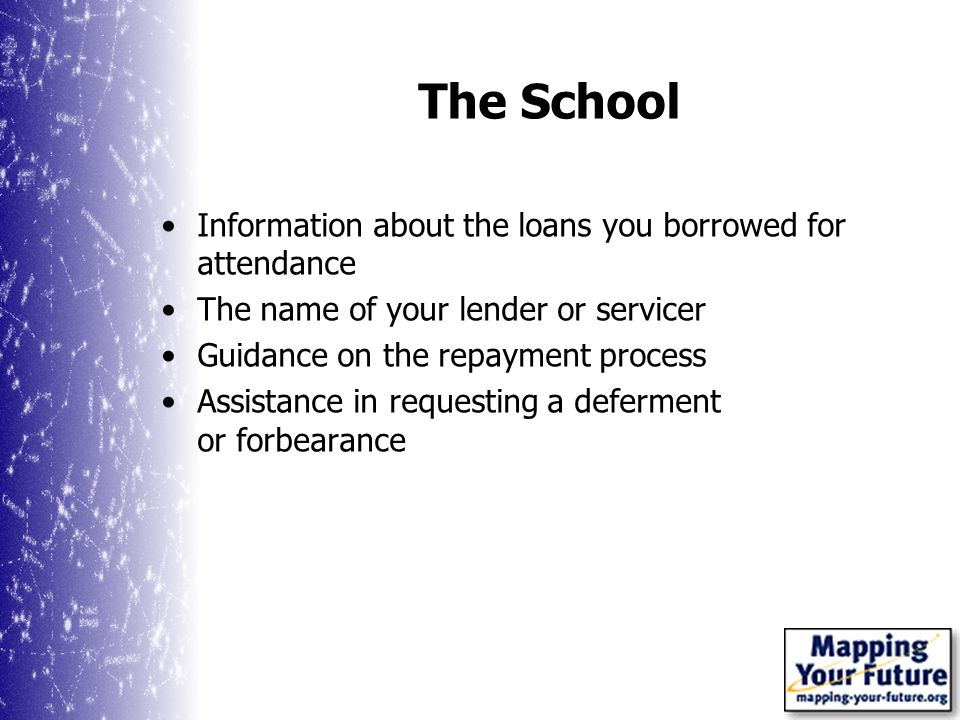 The School Information about the loans you borrowed for attendance The name of your lender or servicer Guidance on the repayment process Assistance in requesting a deferment or forbearance