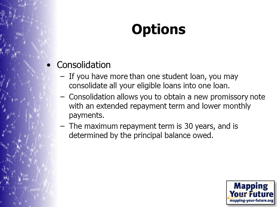 Options Consolidation –If you have more than one student loan, you may consolidate all your eligible loans into one loan.