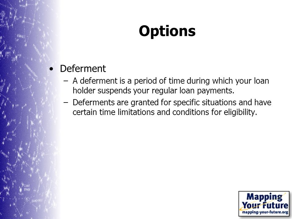 Options Deferment –A deferment is a period of time during which your loan holder suspends your regular loan payments.