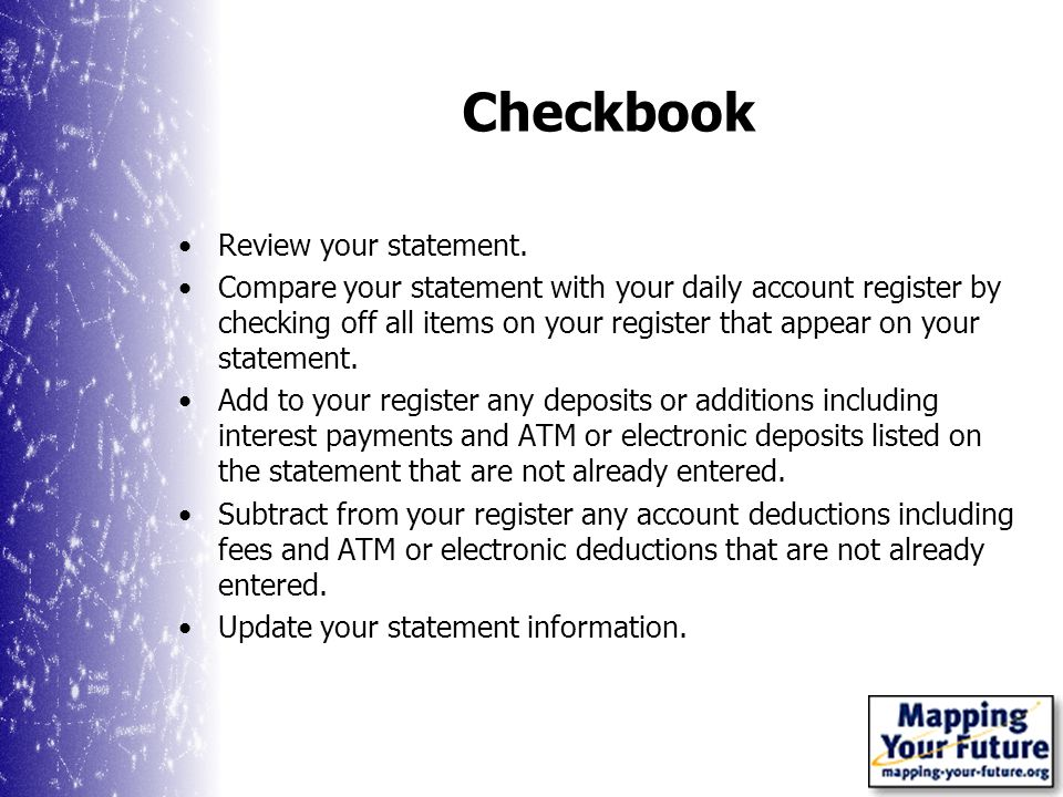 Checkbook Review your statement.