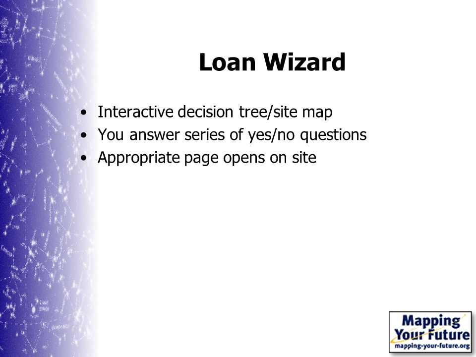 Loan Wizard Interactive decision tree/site map You answer series of yes/no questions Appropriate page opens on site