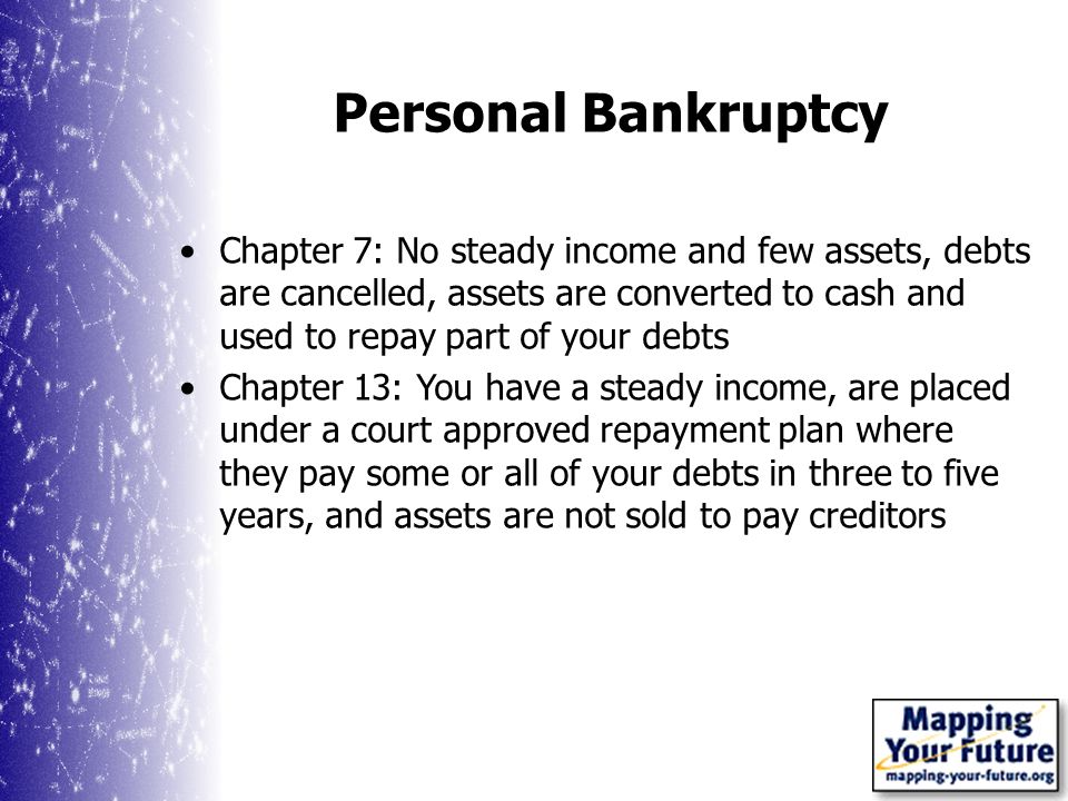 Personal Bankruptcy Chapter 7: No steady income and few assets, debts are cancelled, assets are converted to cash and used to repay part of your debts Chapter 13: You have a steady income, are placed under a court approved repayment plan where they pay some or all of your debts in three to five years, and assets are not sold to pay creditors