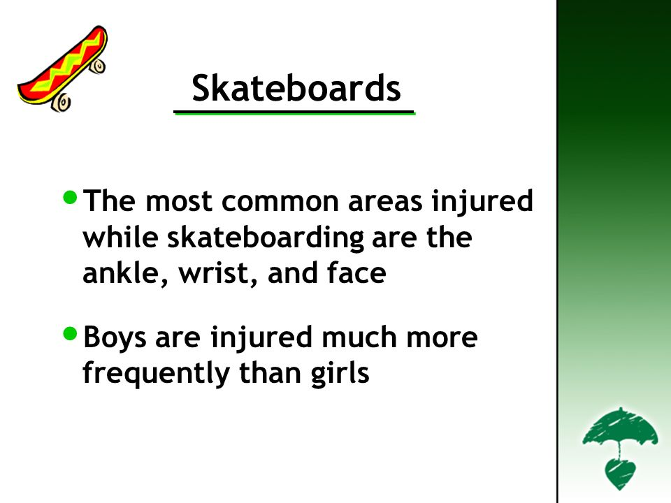 Skateboards The most common areas injured while skateboarding are the ankle, wrist, and face Boys are injured much more frequently than girls