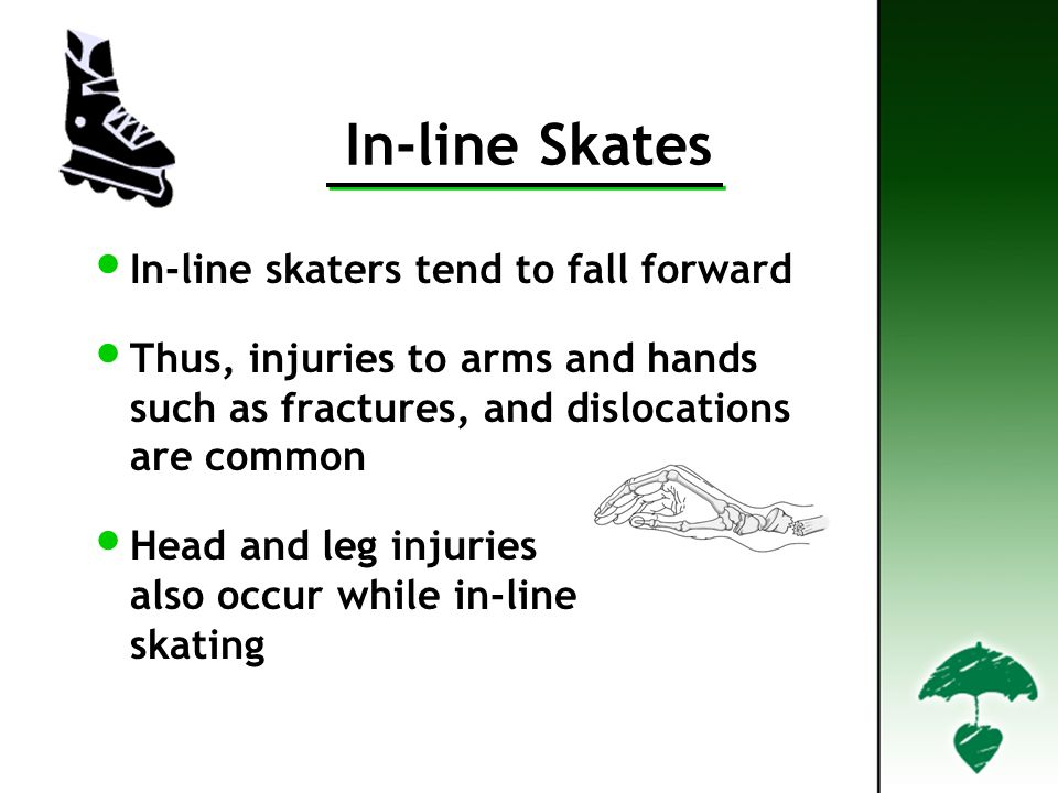 In-line Skates In-line skaters tend to fall forward Thus, injuries to arms and hands such as fractures, and dislocations are common Head and leg injuries also occur while in-line skating