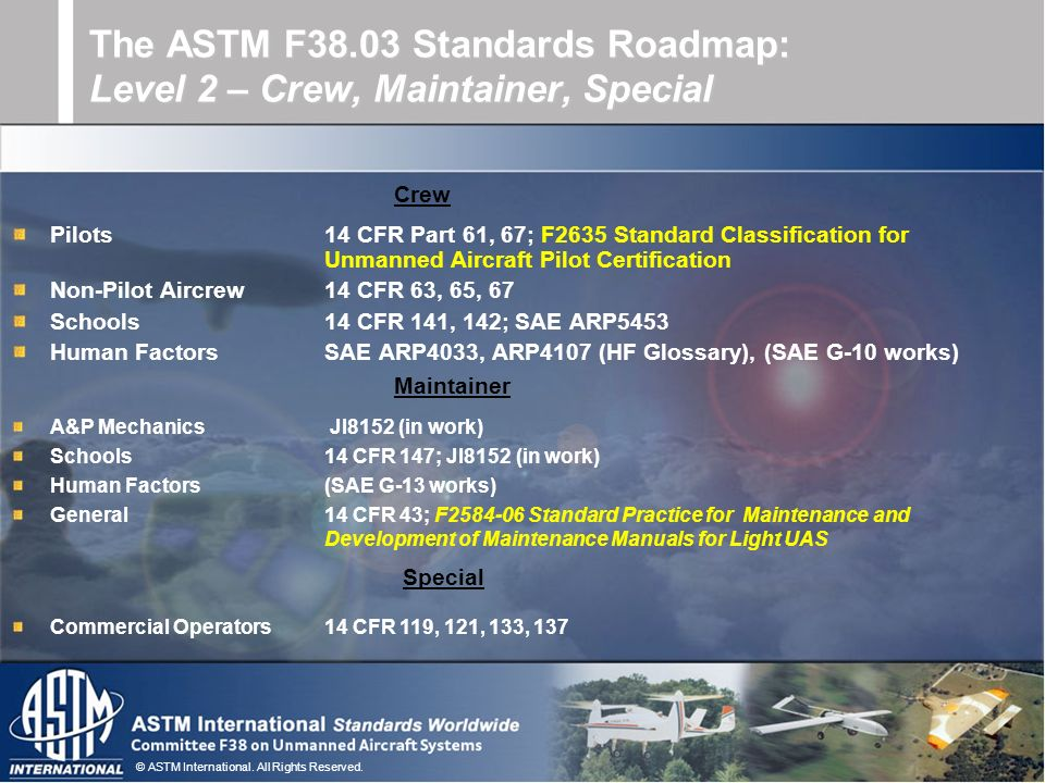 © ASTM International. All Rights Reserved. Pilots14 CFR Part 61, 67; F2635 Standard Classification for Unmanned Aircraft Pilot Certification Non-Pilot