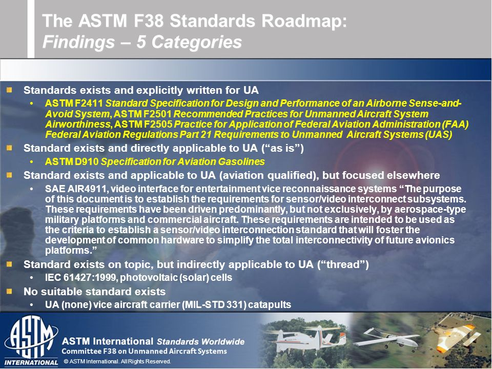 © ASTM International. All Rights Reserved. Standards exists and explicitly written for UA ASTM F2411 Standard Specification for Design and Performance