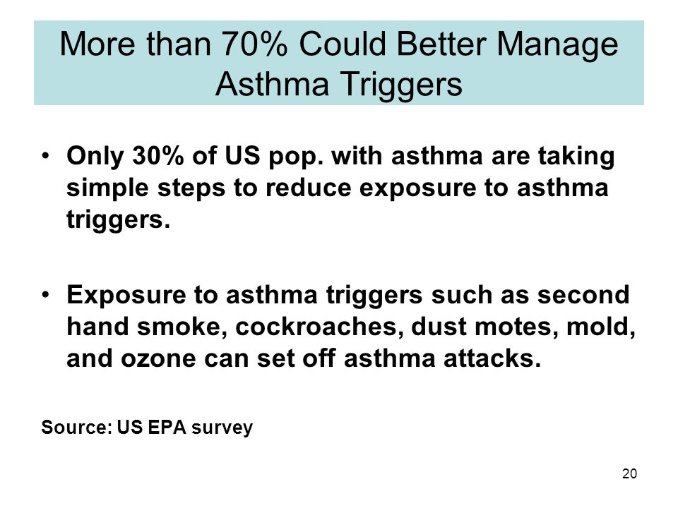 20 More than 70% Could Better Manage Asthma Triggers Only 30% of US pop.