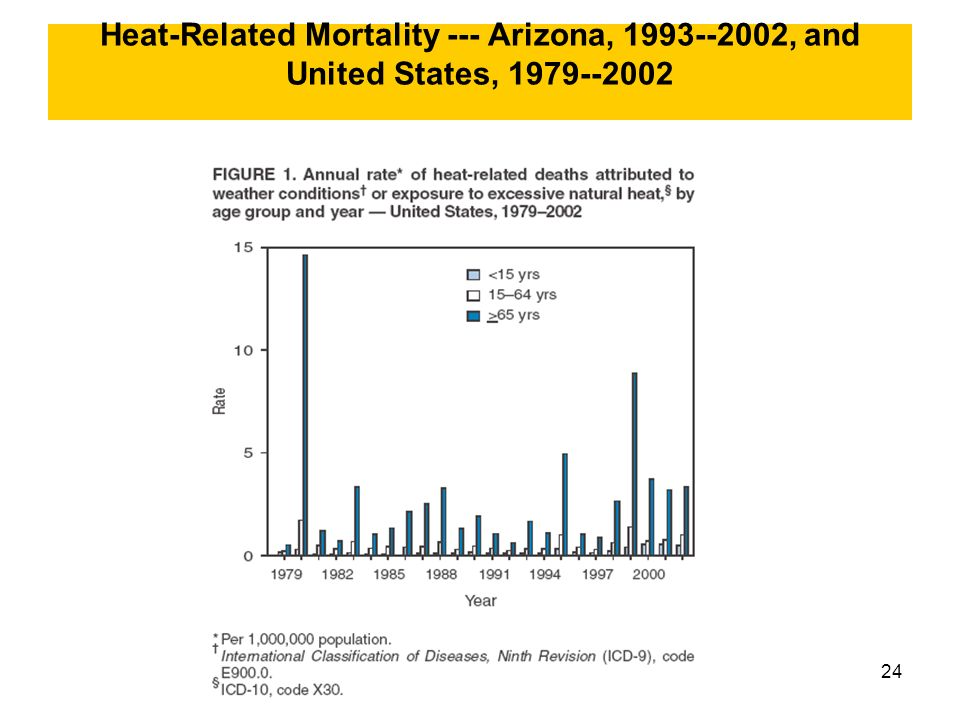 24 Heat-Related Mortality --- Arizona, 1993--2002, and United States, 1979--2002