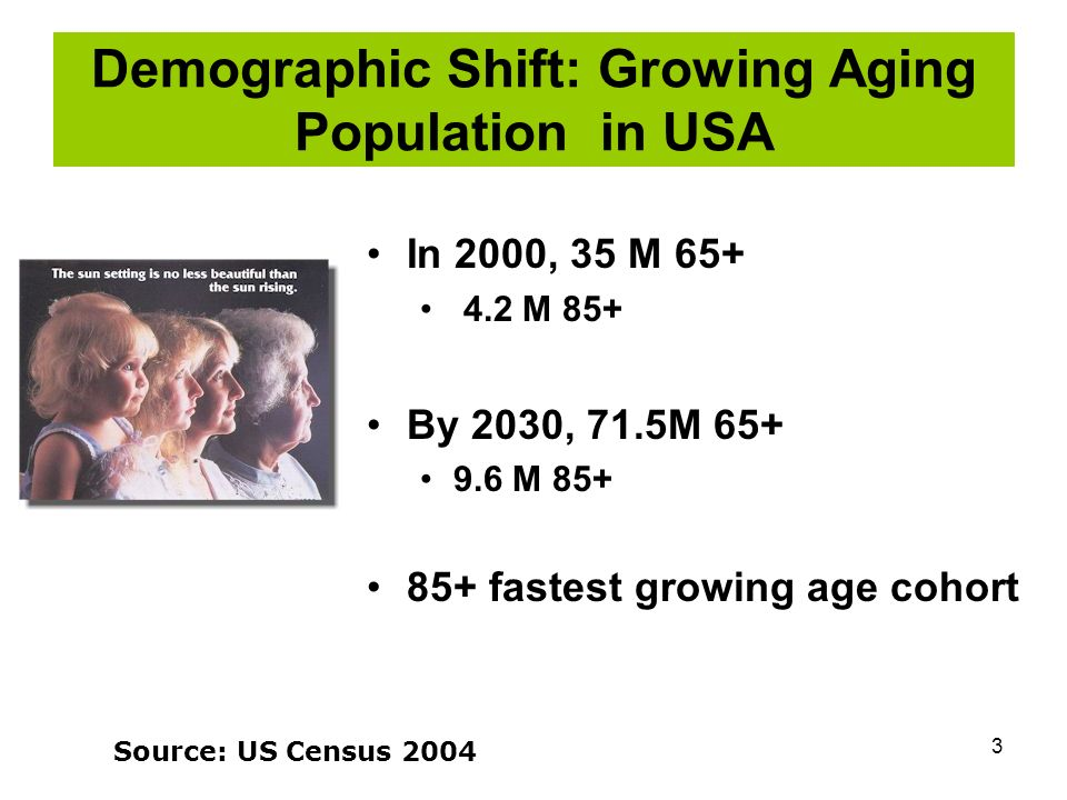 3 Demographic Shift: Growing Aging Population in USA In 2000, 35 M 65+ 4.2 M 85+ By 2030, 71.5M 65+ 9.6 M 85+ 85+ fastest growing age cohort Source: US Census 2004
