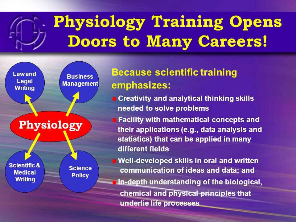 Physiology Training Opens Doors to Many Careers! Because scientific training emphasizes: Creativity and analytical thinking skills needed to solve pro