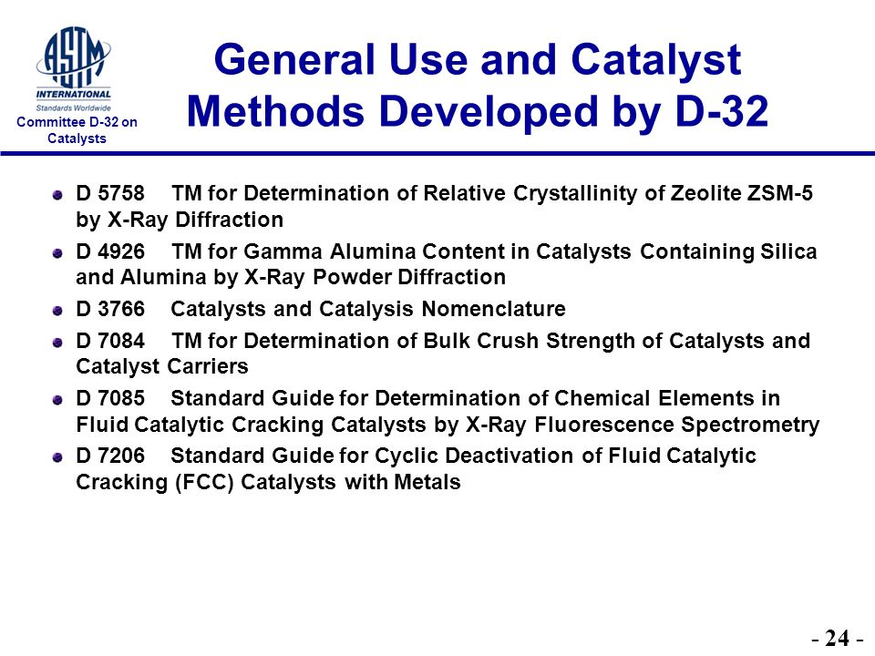 Committee D-32 on Catalysts General Use and Catalyst Methods Developed by D-32 D 5758 TM for Determination of Relative Crystallinity of Zeolite ZSM-5 by X-Ray Diffraction D 4926 TM for Gamma Alumina Content in Catalysts Containing Silica and Alumina by X-Ray Powder Diffraction D 3766 Catalysts and Catalysis Nomenclature D 7084 TM for Determination of Bulk Crush Strength of Catalysts and Catalyst Carriers D 7085 Standard Guide for Determination of Chemical Elements in Fluid Catalytic Cracking Catalysts by X-Ray Fluorescence Spectrometry D 7206 Standard Guide for Cyclic Deactivation of Fluid Catalytic Cracking (FCC) Catalysts with Metals