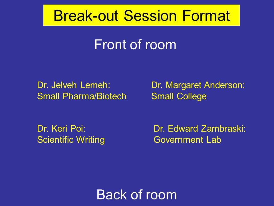 Dr. Keri Poi: Scientific Writing Front of room Dr.
