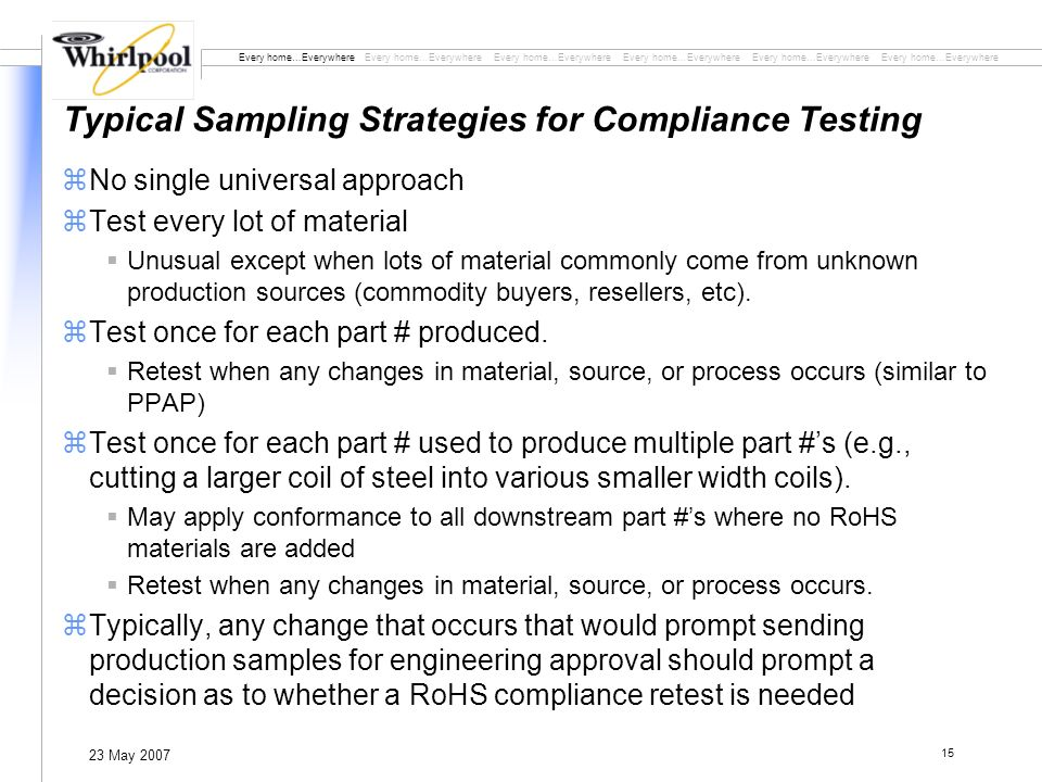 Every home…Everywhere Every home…Everywhere Every home…Everywhere 23 May 2007 15 Typical Sampling Strategies for Compliance Testing zNo single universal approach zTest every lot of material Unusual except when lots of material commonly come from unknown production sources (commodity buyers, resellers, etc).