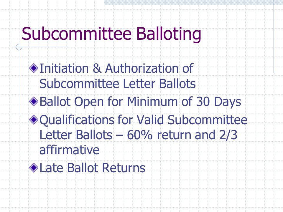Subcommittee Balloting Initiation & Authorization of Subcommittee Letter Ballots Ballot Open for Minimum of 30 Days Qualifications for Valid Subcommit