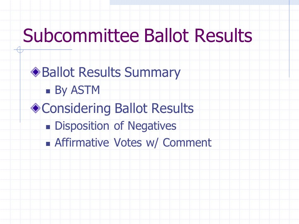 Subcommittee Ballot Results Ballot Results Summary By ASTM Considering Ballot Results Disposition of Negatives Affirmative Votes w/ Comment