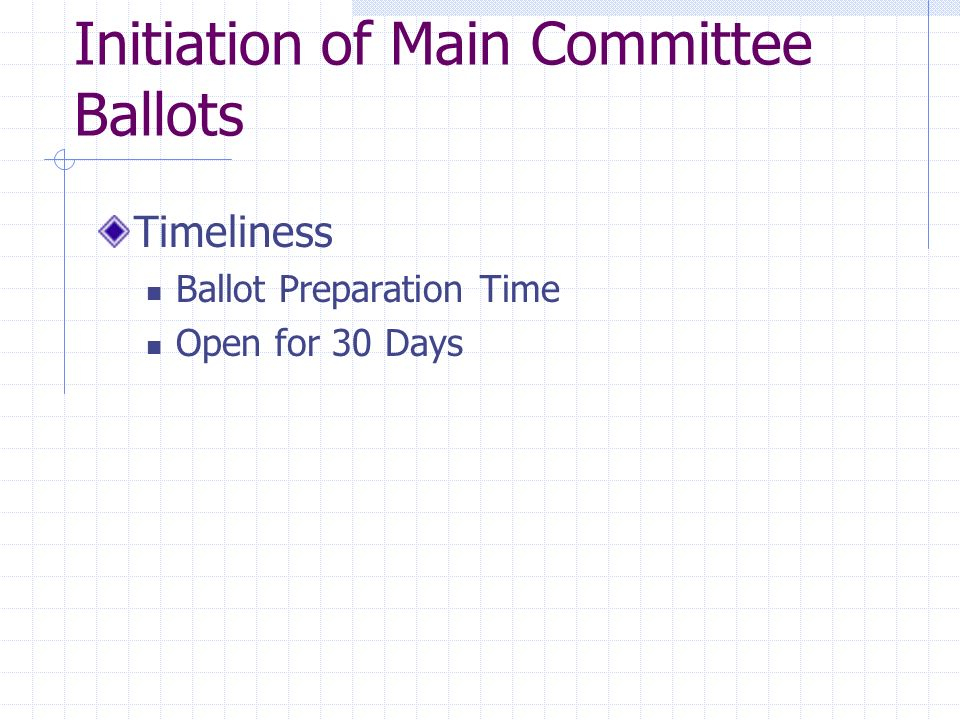 Qualifications for Valid Main Committee Ballots 60% Return 90% Affirmative of Combined Affirmative and Negative Votes Late Ballot Returns Closing Reports Final Ballot Results Disposition of Negatives Affirmative Votes w/ Comments