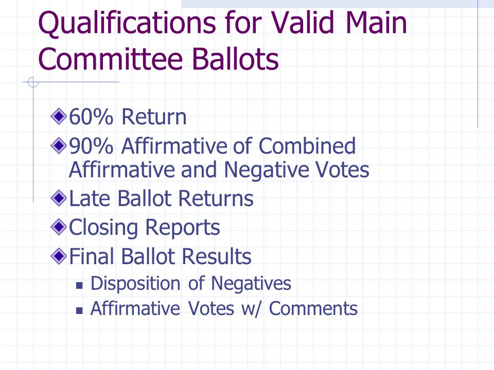 Qualifications for Valid Main Committee Ballots 60% Return 90% Affirmative of Combined Affirmative and Negative Votes Late Ballot Returns Closing Repo