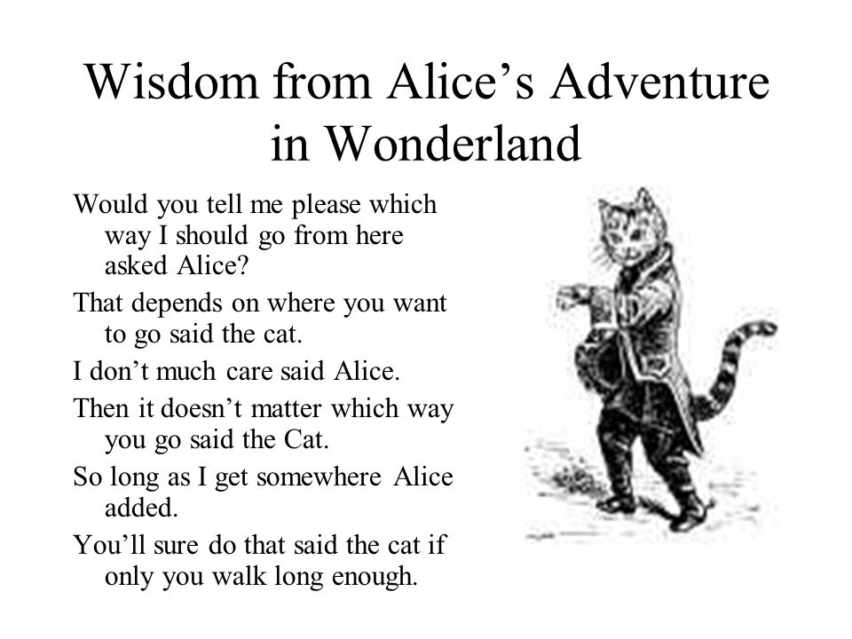 Wisdom from Alices Adventure in Wonderland Would you tell me please which way I should go from here asked Alice? That depends on where you want to go