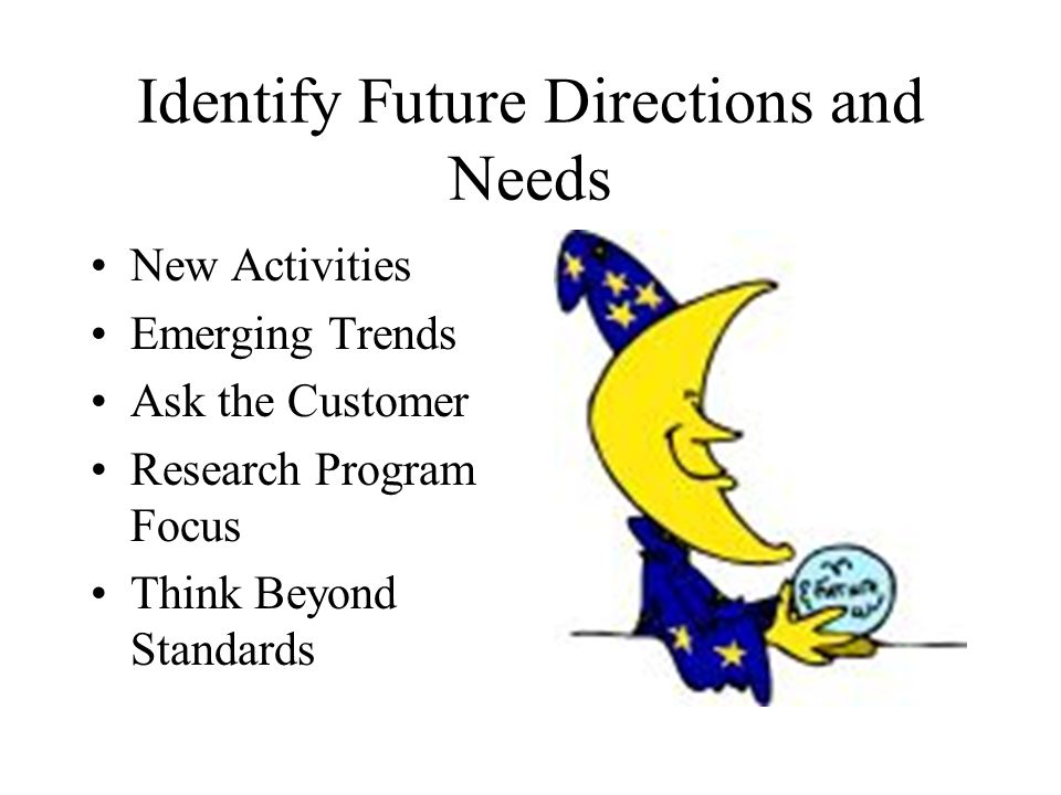 Identify Future Directions and Needs New Activities Emerging Trends Ask the Customer Research Program Focus Think Beyond Standards