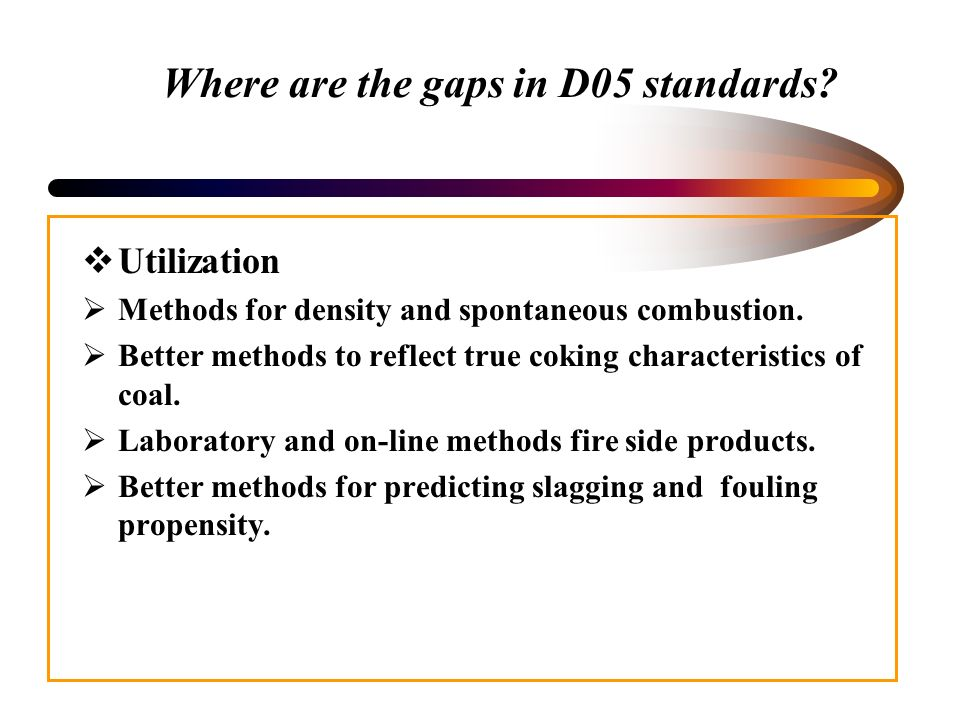 Where are the gaps in D05 standards. Utilization Methods for density and spontaneous combustion.