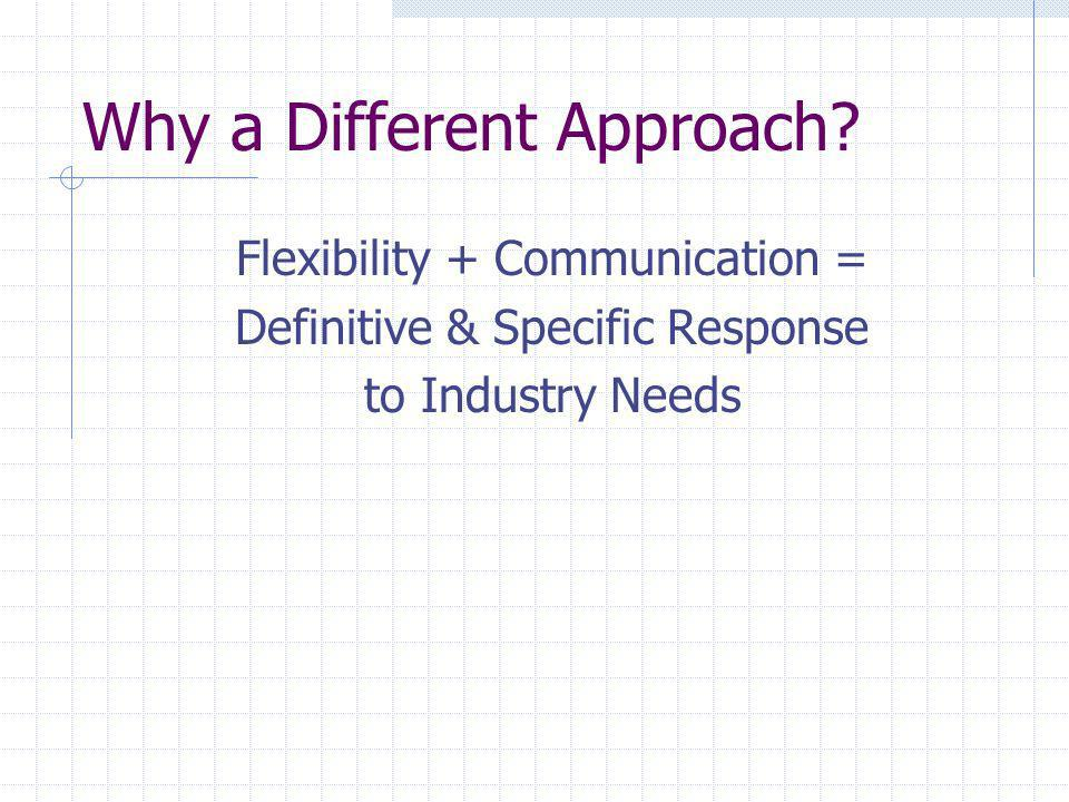 Why a Different Approach? Flexibility + Communication = Definitive & Specific Response to Industry Needs