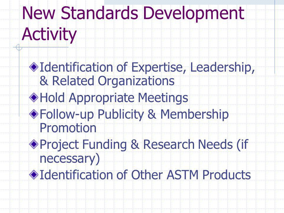 New Standards Development Activity Identification of Expertise, Leadership, & Related Organizations Hold Appropriate Meetings Follow-up Publicity & Me