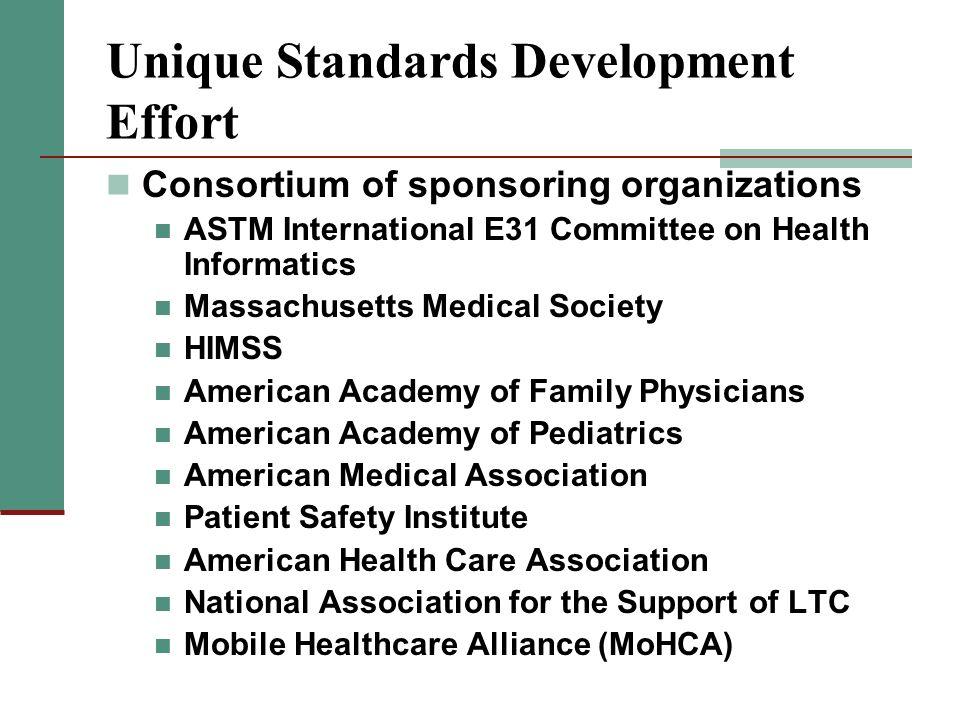 Unique Standards Development Effort Consortium of sponsoring organizations ASTM International E31 Committee on Health Informatics Massachusetts Medica