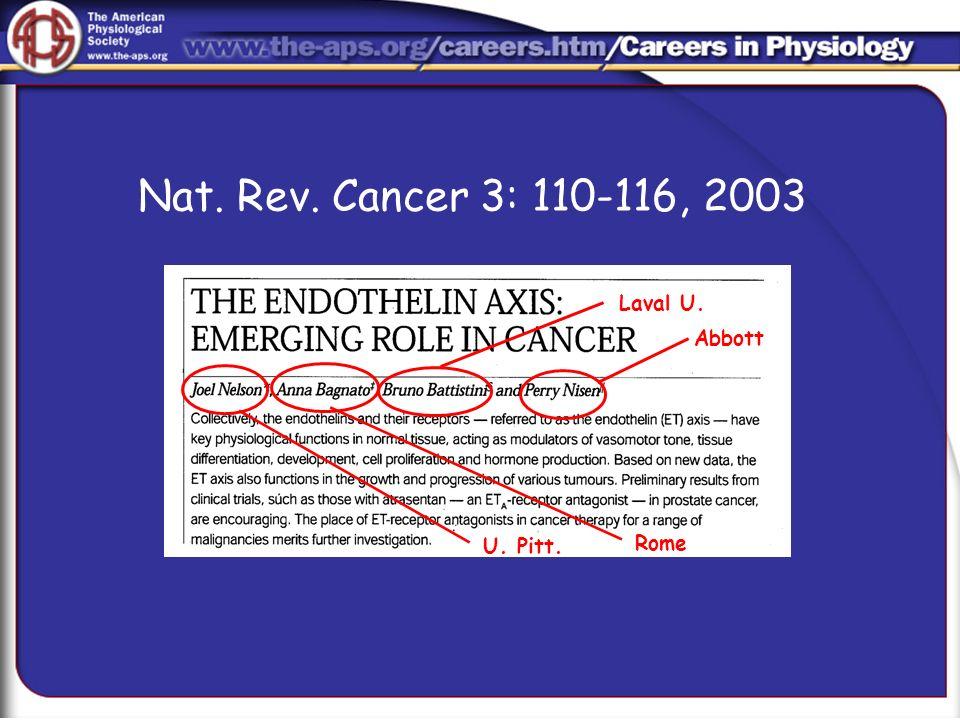 Nat. Rev. Cancer 3: 110-116, 2003 Abbott Rome Laval U. U. Pitt.