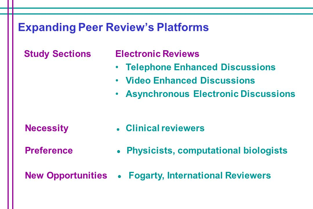 Expanding Peer Reviews Platforms Electronic Reviews Telephone Enhanced Discussions Video Enhanced Discussions Asynchronous Electronic Discussions Study Sections Necessity Clinical reviewers Preference Physicists, computational biologists New Opportunities Fogarty, International Reviewers