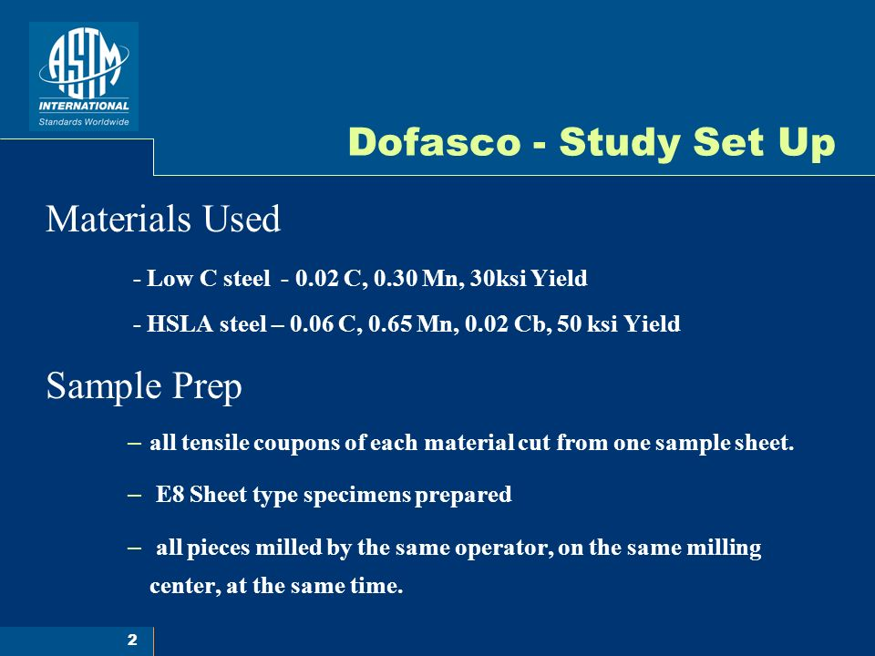 3 Dofasco - Study Set Up Sample Testing – Verification standards run before and after study pieces – All specimen measurements conducted by one operator – All tests conducted by one operator on the same day, using one test frame.