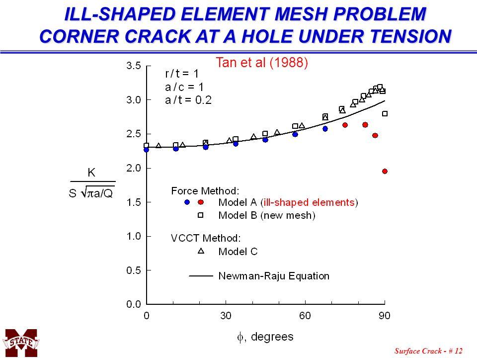 Surface Crack - # 12 ILL-SHAPED ELEMENT MESH PROBLEM CORNER CRACK AT A HOLE UNDER TENSION Tan et al (1988)