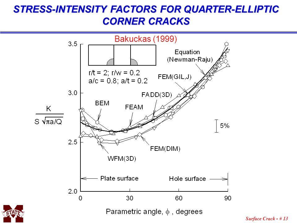 Surface Crack - # 13 STRESS-INTENSITY FACTORS FOR QUARTER-ELLIPTIC CORNER CRACKS Bakuckas (1999)