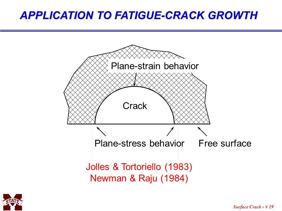 Surface Crack - # 19 APPLICATION TO FATIGUE-CRACK GROWTH Plane-stress behavior Free surface Jolles & Tortoriello (1983) Newman & Raju (1984) Plane-str