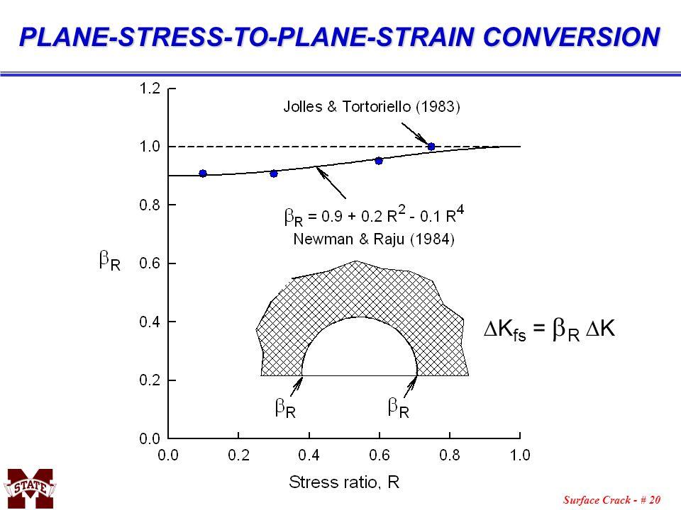 Surface Crack - # 20 K fs = R K PLANE-STRESS-TO-PLANE-STRAIN CONVERSION
