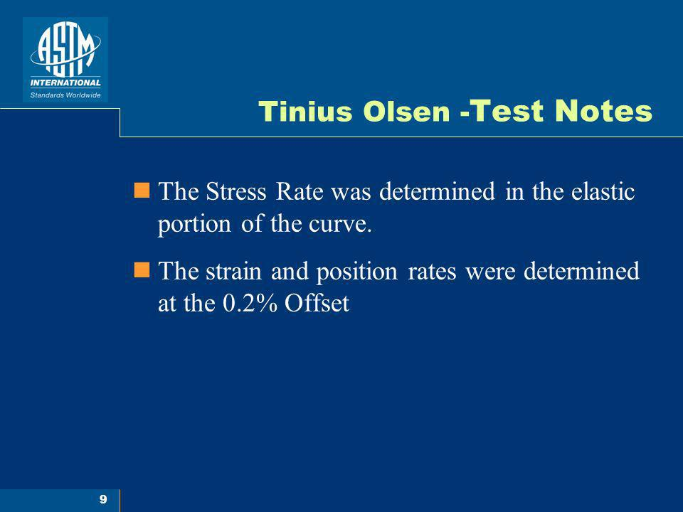 9 Tinius Olsen - Test Notes The Stress Rate was determined in the elastic portion of the curve. The strain and position rates were determined at the 0