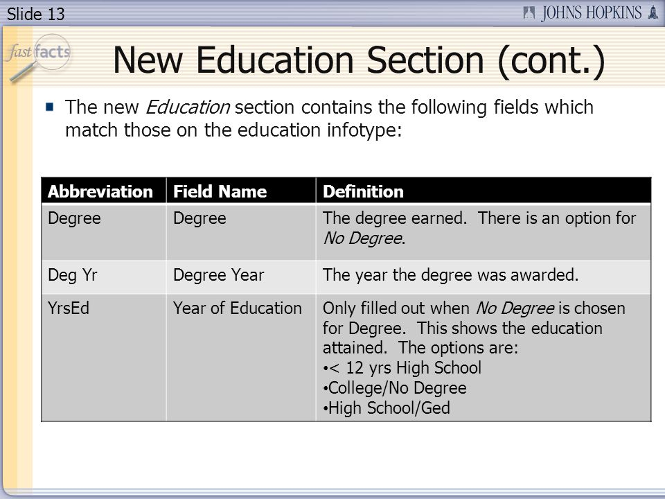 Slide 13 New Education Section (cont.) The new Education section contains the following fields which match those on the education infotype: AbbreviationField NameDefinition Degree The degree earned.