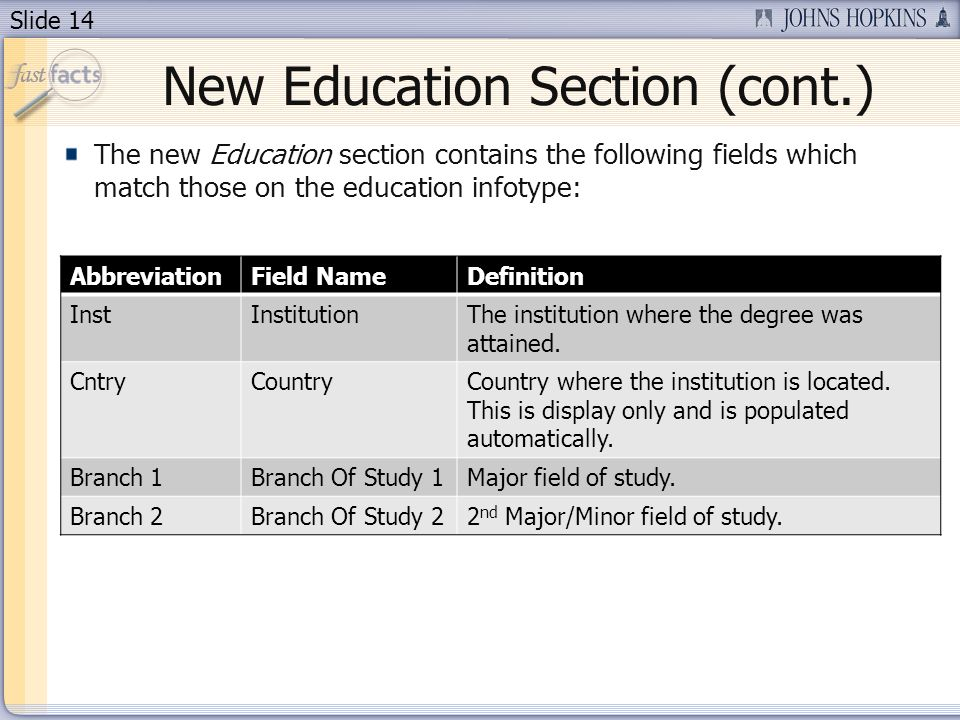 Slide 14 New Education Section (cont.) The new Education section contains the following fields which match those on the education infotype: AbbreviationField NameDefinition InstInstitutionThe institution where the degree was attained.