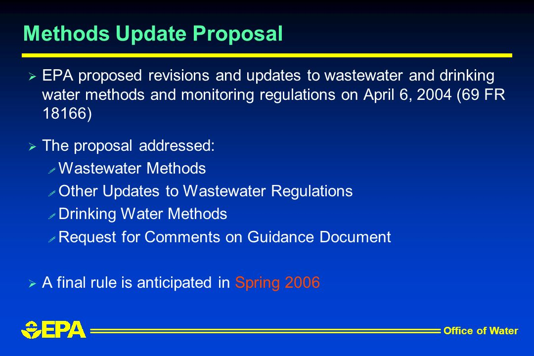 Office of Water Methods Update Proposal EPA proposed revisions and updates to wastewater and drinking water methods and monitoring regulations on Apri