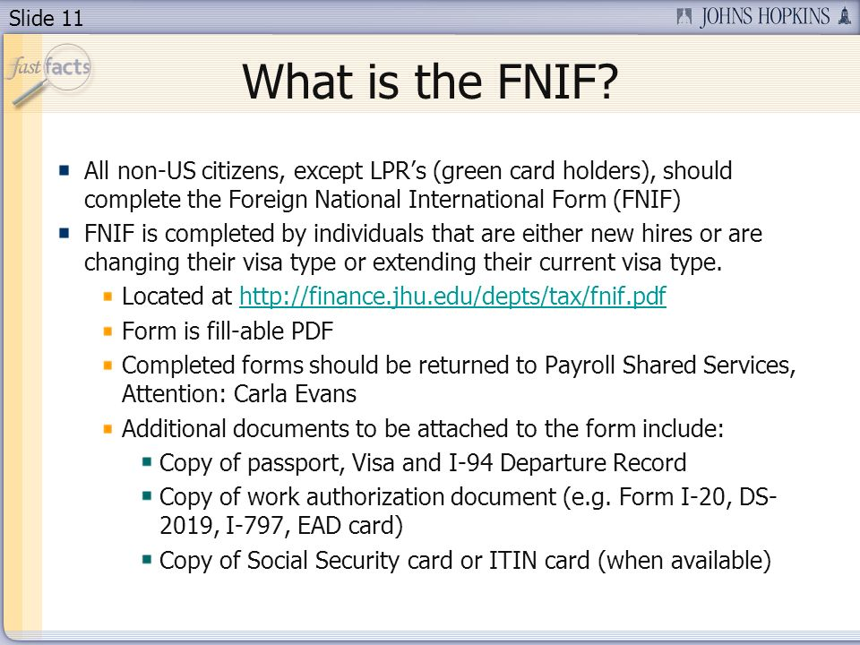 Slide 11 What is the FNIF.