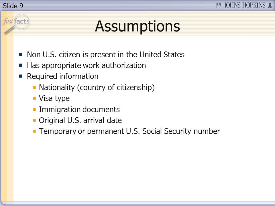 Slide 9 Assumptions Non U.S.