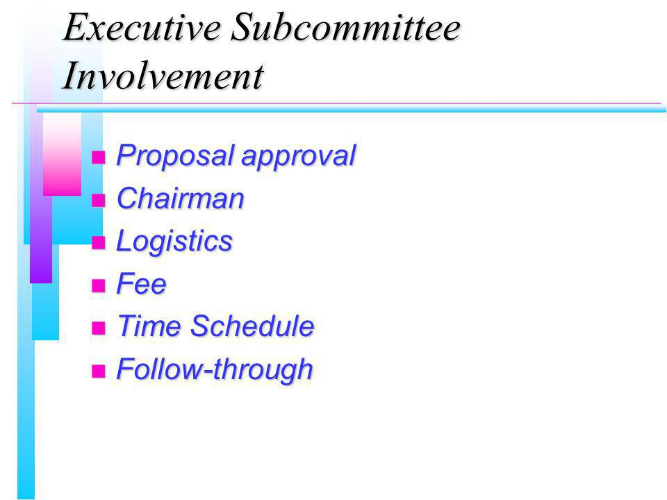 Executive Subcommittee Involvement n Proposal approval n Chairman n Logistics n Fee n Time Schedule n Follow-through