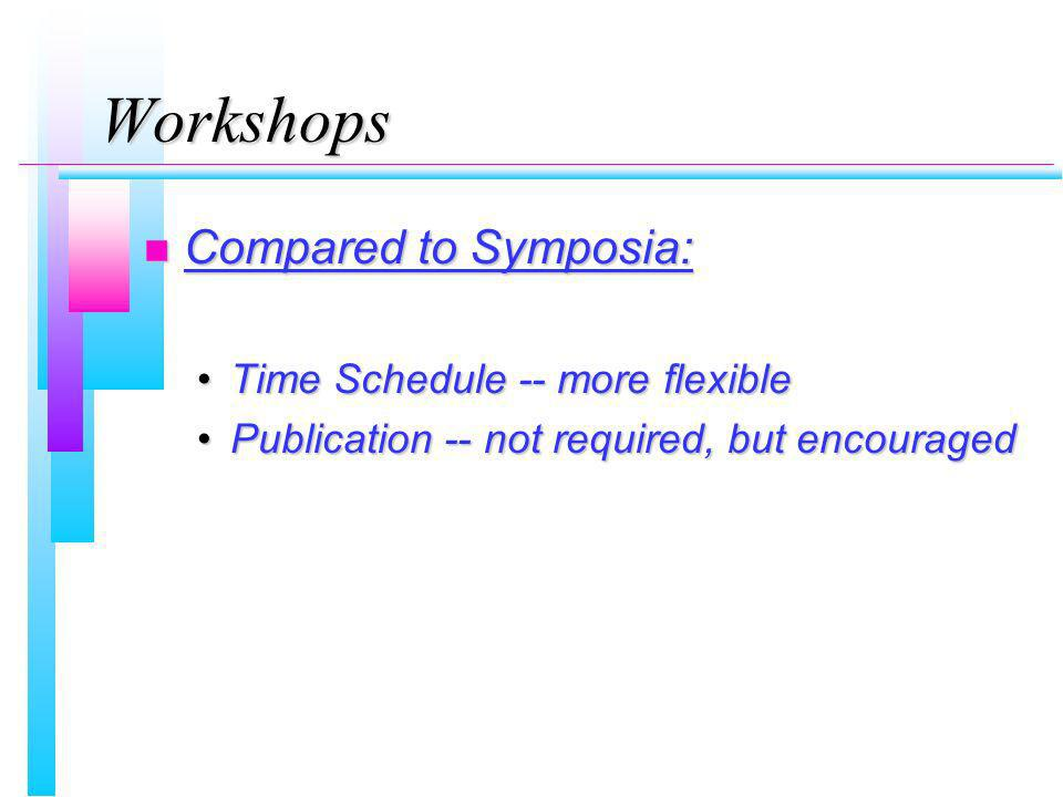 Workshops n Compared to Symposia: Time Schedule -- more flexibleTime Schedule -- more flexible Publication -- not required, but encouragedPublication