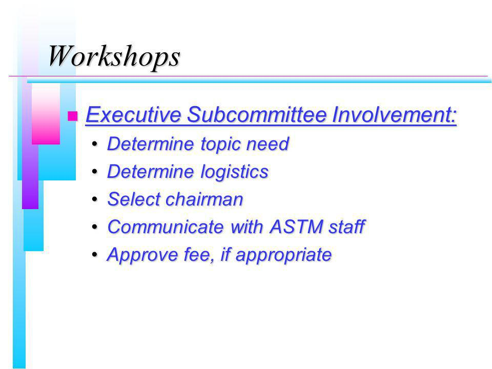 Workshops n Executive Subcommittee Involvement: Determine topic needDetermine topic need Determine logisticsDetermine logistics Select chairmanSelect