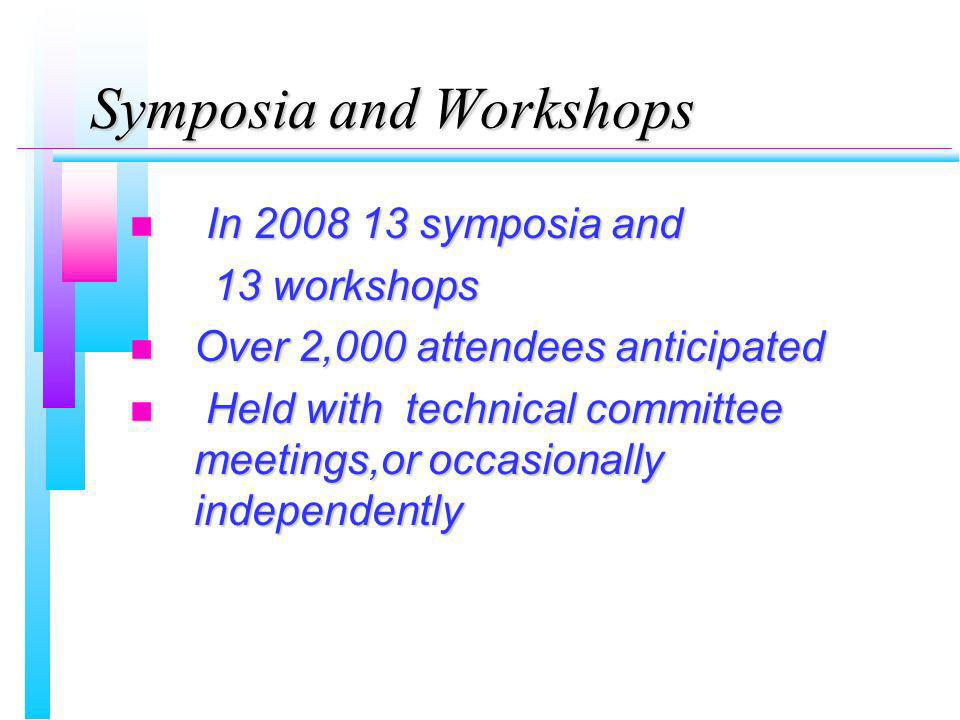 Symposia and Workshops n In 2008 13 symposia and 13 workshops 13 workshops n Over 2,000 attendees anticipated n Held with technical committee meetings