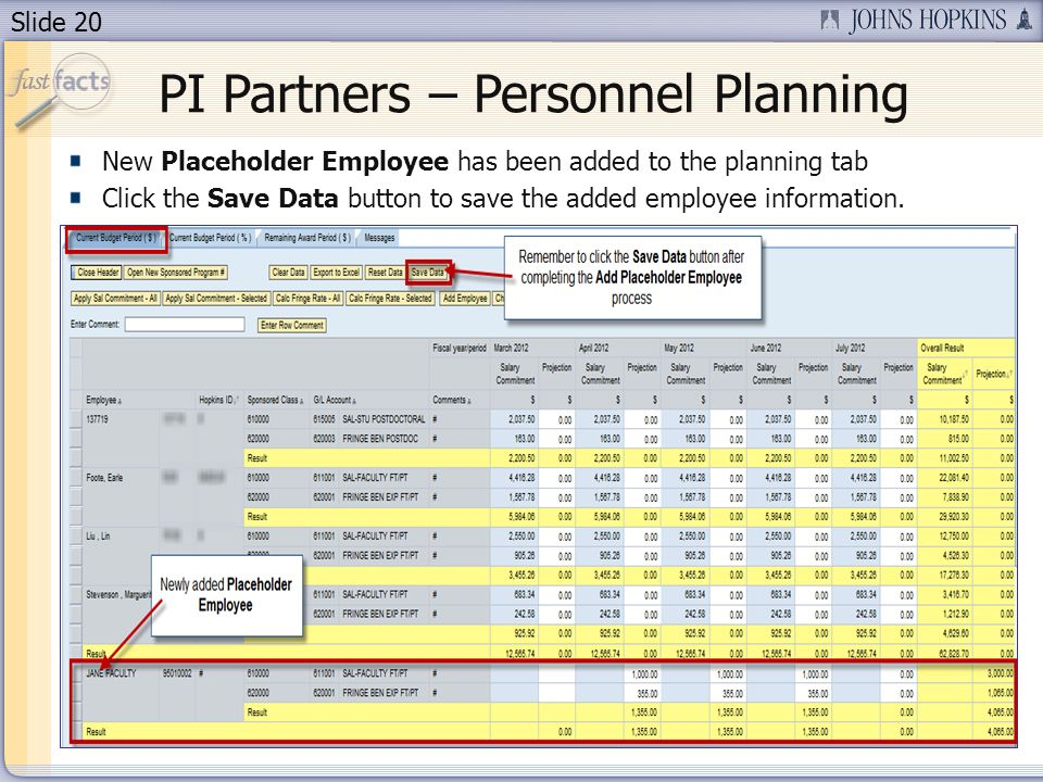 Slide 20 PI Partners – Personnel Planning New Placeholder Employee has been added to the planning tab Click the Save Data button to save the added employee information.