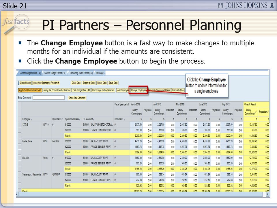 Slide 21 PI Partners – Personnel Planning The Change Employee button is a fast way to make changes to multiple months for an individual if the amounts are consistent.