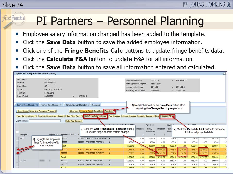 Slide 24 PI Partners – Personnel Planning Employee salary information changed has been added to the template.
