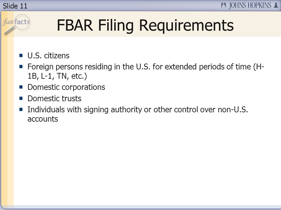 Slide 11 U.S. citizens Foreign persons residing in the U.S.