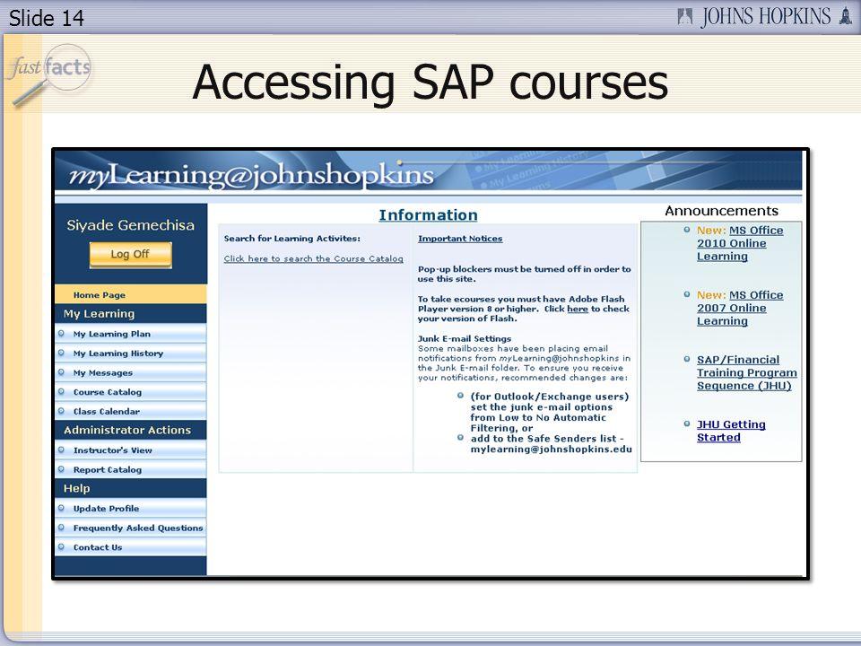 Slide 14 Accessing SAP courses
