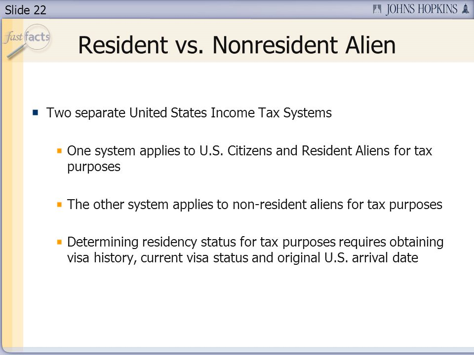 Slide 22 Resident vs. Nonresident Alien Two separate United States Income Tax Systems One system applies to U.S. Citizens and Resident Aliens for tax